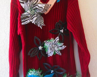 Ugly Sweater in burgandy with Large Flower accents #33