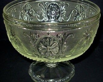 Sandwich Glass Compote, Pedestal Footed Bowl, Vintage Comport, Vintage Glass