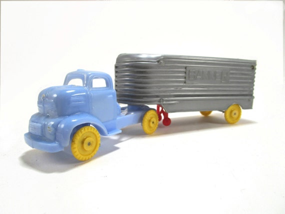 Toy Tractor Trailer Trucks : Vintage s banner plastic toy tractor trailer truck with