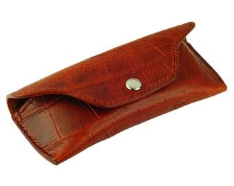 Leather Glasses Case, Handmade, Mahogany Crocodile Grain Leather