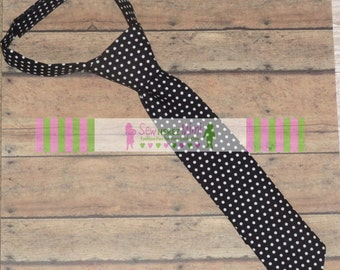 Custom Necktie Black White Dot Boys Sizes Infant, Child, Youth and Men