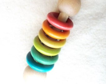 Wooden Rattle Teething Toy Organic Baby Shower Gift