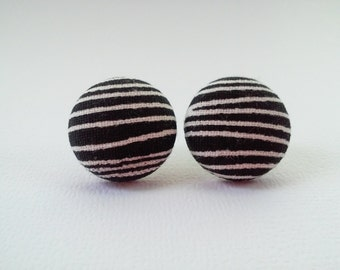 Black white stripes fabric button earrings - BUY 3 get 1 FREE