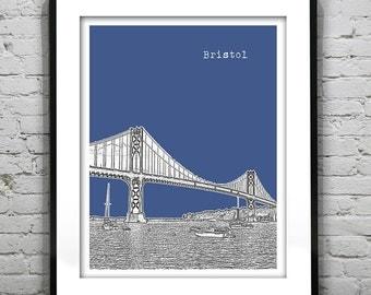 Bristol Rhode Island Skyline Poster Art Print RI Mount Hope Bridge