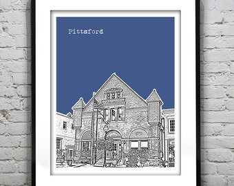 Pittsford New York Skyline Poster Art Print NY