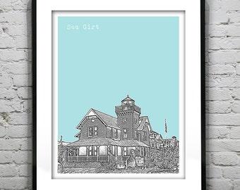 Sea Girt New Jersey Poster Print Art NJ Shore Skyline