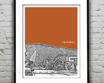 Jackson Wyoming Skyline Art Print Poster WY Version 1 Jackson Hole