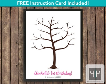 Birthday Fingerprint Guest Book Tree, Printable Girl Birthday Thumbprint Guest Book, Thumbprint Tree, Printable Girl Birthday Guest Book