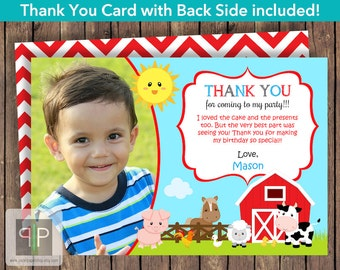 Farm Photo Birthday Thank You Card, Printable Farm Animals Thank You Card, Farm Theme Thank You Card, Printable Farm Thank You Card, P16