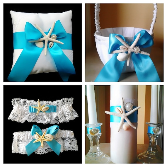 Beach Wedding Garter: Blue Turquoise Sea Shell White Beach Wedding Basket Garter