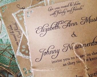 Mint Wedding Invitations with Mint burlap on kraft - 50