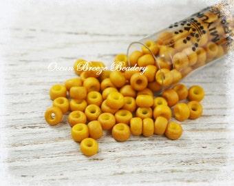 Matte Opaque Mustard Yellow . 6/0 Seed Bead . 20 gram Tube