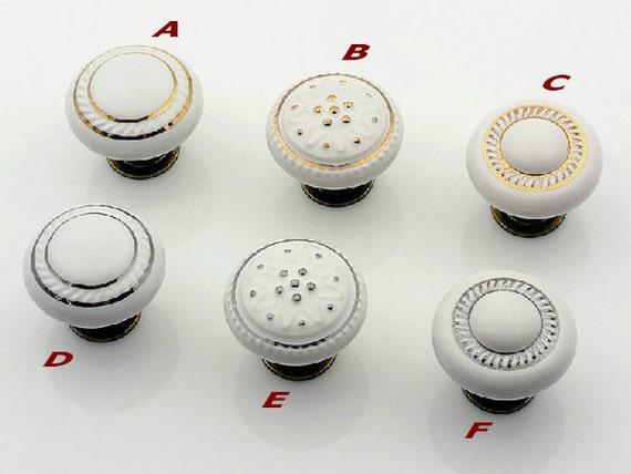 Kitchen Cabinet Knobs Porcelain Knobs Dresser Knob Drawer Knobs Pulls  Handles White Ceramic Gold Silver Furniture Knob Handle Pull Hardware From  ...