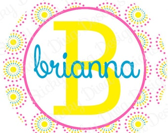 PERSONALIZED STICKERS - Custom Bright Dots Monogrammed Labels - Round Gloss Labels