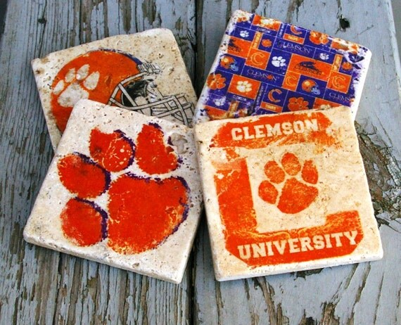 Clemson Drink Coasters/ Man Cave/ By KandBCreativeDesigns
