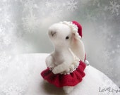 Santa bunny girl, white felt rabbit, elven fairy Christmas, decoration mini plushie