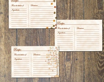 Fall Recipe Cards Instant Download Set of three