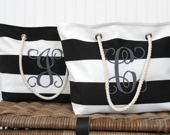 Monogrammed Beach Tote Bag - Personalized Pool Bag - Bridesmaid Gift  - Beach Bag - Teacher Gift - Personalized Bag - Graduation Gift