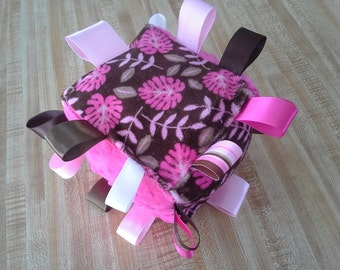Pink and Brown Floral Print Taggie Cube