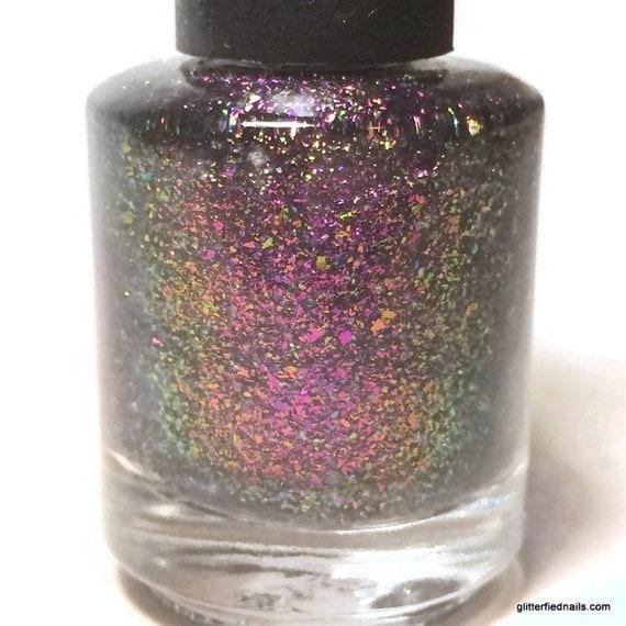 pink purple blue gold nail polish color shifting flakie glitter 5 free handmade nail polish indie nail polish vegan cruelty free