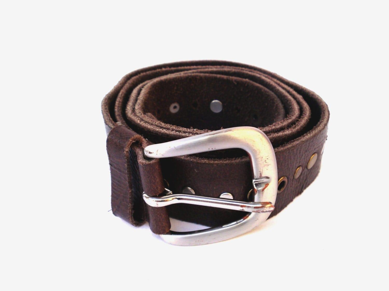 vintage genuine leather belt brown leather belt womens tooled