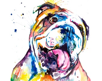 Colorful English Bulldog Art Print - Print of my Original Watercolor Painting