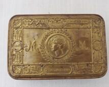 Original WWI Princess Mary Brass Tin Box Christmas 1914 / British Royal Family / Collectible