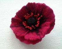 Poppy Felt Flower Brooch, Wool Accessories, Handmade Red Flower, Gift for Her, Hair Accessories