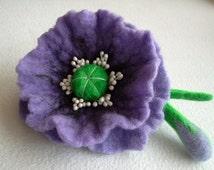 Purple Felt Poppy Flower Brooch, Wool Accessories, Handmade Purple Flower, Gift for Her, Hair Accessories, Flower with bud