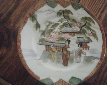 Satsuma Four Antique Collectable Plates HAND PAINTED JAPAN stamped on underside