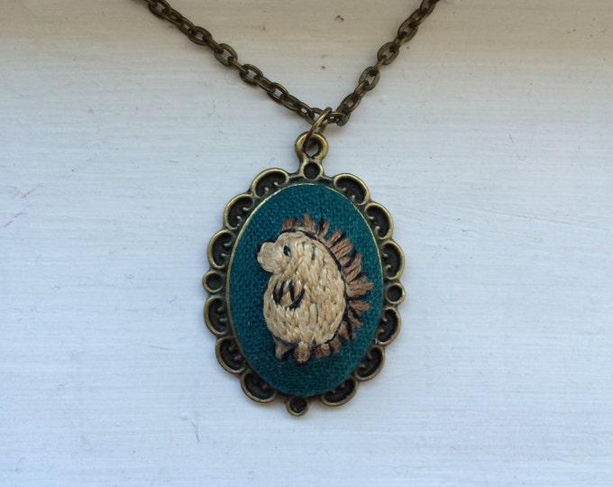 Hedgehog - hand embroidered necklace, hedgehog, woodland, animal, needlework
