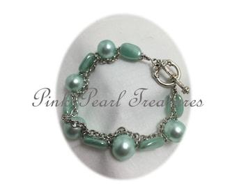 Seafoam beaded bracelet