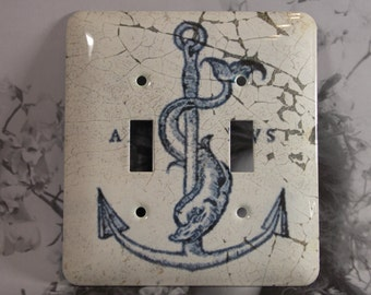 Metal Anchor Switch Plate - 2T Double Toggle Light Switch Cover - Anchors Toggle - Anchor Light Switch Plate