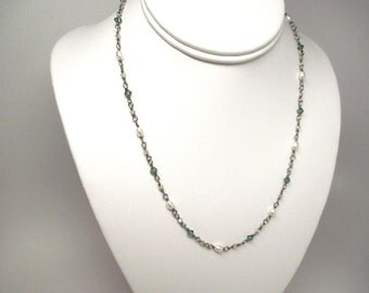 Crystal and Pearl Niobium Wire Wrapped Necklace / Hypoallergenic Crystal and Pearl Necklace