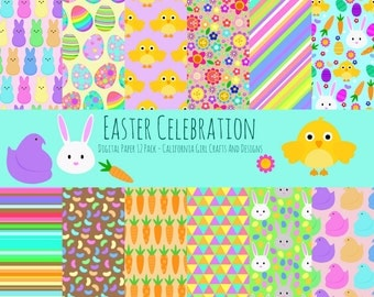 Easter Celebration Digital Paper Pack - 12 by 12 Instant Download