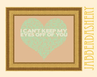 """I Can't Keep My Eyes Off Of You Mint """"You and Me"""" by Lifehouse Word Cloud Valentine Heart Love Song Printable Typography up to 8x10"""