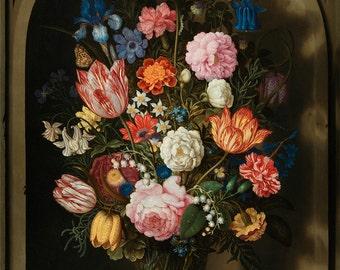 "Ambrosius Bosschaert : ""Bouquet of Flowers in a Stone Niche"" (1618) - Giclee Fine Art Print"