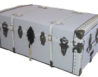 Antique Steamer Trunk in White