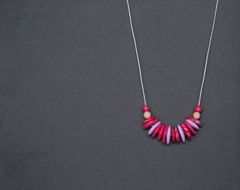 Polymer clay necklace Beaded necklace Beadwork necklace Pink red necklace Violet necklace Pastel Violet necklace Spring necklace Metal free