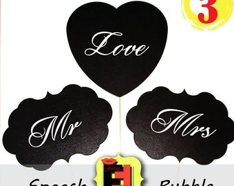 3 Large Chalkboard Speech Bubble -- Set of 3 foamboard Photo Booth Props - Chalk Boards for Wedding Engagement Party Pics