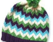 PARKER: Handknit hat, purple, green, aqua and white stripes, pompom, large child/teen/adult size