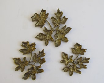 Brass Hanging Leaves, Set of 3, Brass, Brass Leaves, Brass Wall Hanging, Brass Art, Vintage Brass, India