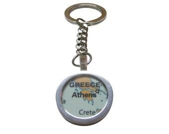 Athens Greece Map Pendant Key Chain
