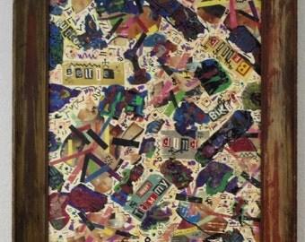 Outsider Comtemorary Abstract Folk Art mixed media painting gaZbo dean