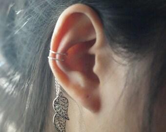 44)Ear Cuff.Non Pierced Two Leaves Drop Ear Cuff