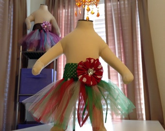 Red, Green and White Christmas Baby Girl Tutu With Red and White Polka Dot Hair Bow