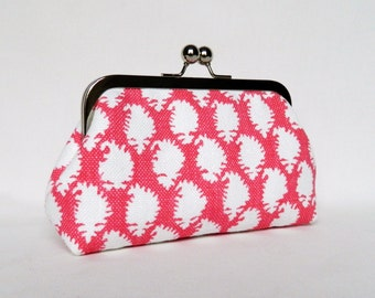 Pink Clutch Purse, White and Pink Clutch, Make-Up Bag, White and Pink Bridesmaid Gifts, Bridesmaid Clutch, Handmade UK