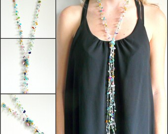 Long lariat necklace. Gemstone necklace. French handmade. Wire crochet jewelry. Multicolor jewelry. Mother's day. Boho necklace.