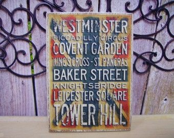 London Miniature Wooden Plaque 1:12 Scale for Dollhouse