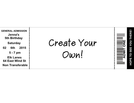 create your own ticket birthday party invitations by favorstoday